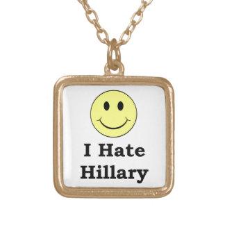 Ik haat gelukkig smileygezicht van Hillary Goud Vergulden Ketting