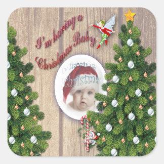Ik heb een Baby van Kerstmis Vierkante Stickers