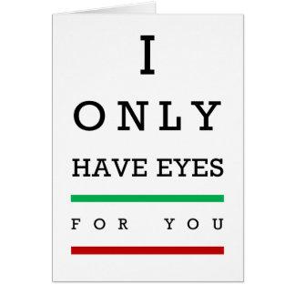 """""""ik heb slechts ogen voor u"""" ooggrafiek kaart"""