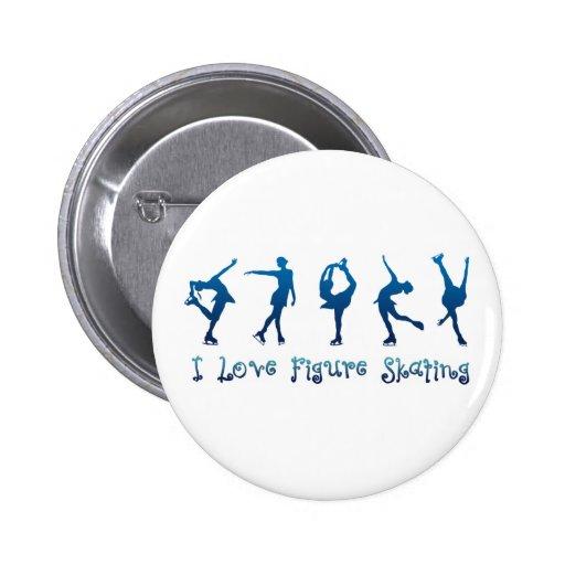 Ik houd cijfer het schaatsen van blauw speld buttons