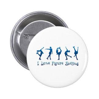 Ik houd cijfer het schaatsen van blauw ronde button 5,7 cm