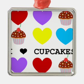 ik houd cupcakes van helder ontwerp cupcake zilverkleurig vierkant ornament