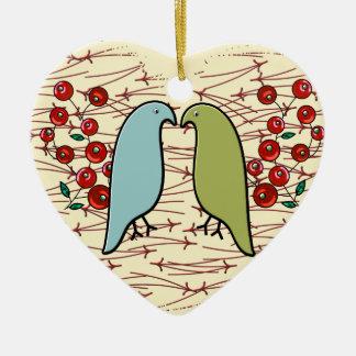 Ik houd (de de Gepersonaliseerde) van Vogels en Keramisch Hart Ornament