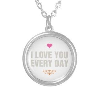 Ik houd elke dag van u zilver vergulden ketting