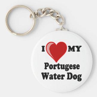 Ik houd (Hart) van Mijn Portugese Hond van het Basic Ronde Button Sleutelhanger