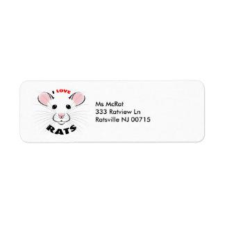 Ik houd het adres van etiket van Ratten van Retouretiket