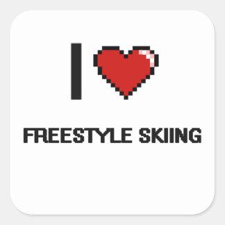 Ik houd het Ski?en van het Vrije slag van Digitaal Vierkant Sticker