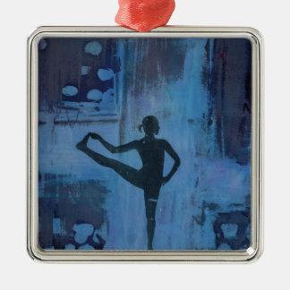 Ik houd Mijn Meisje van de Yoga van het Saldo Zilverkleurig Vierkant Ornament