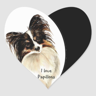 Ik houd Papillons van Hond, Huisdier met Hart Hart Sticker