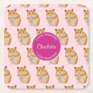 Ik houd Patroon van de Hamster van Hamsters van Vierkante Onderzetter