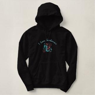 Ik houd Seahorses van Geborduurde Sweatshirts Geborduurde Dames Sweater Hoodie