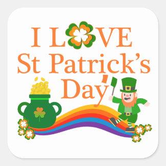 Ik houd St Patrick van Dag Vierkant Sticker