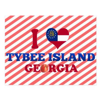 Ik houd Tybee van Eiland, Georgië Briefkaart