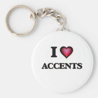Ik houd van Accenten Basic Ronde Button Sleutelhanger