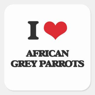 Ik houd van Afrikaanse Grijze Papegaaien Vierkante Sticker