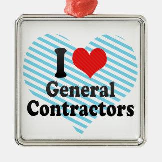 Ik houd van Algemene Contractanten Zilverkleurig Vierkant Ornament