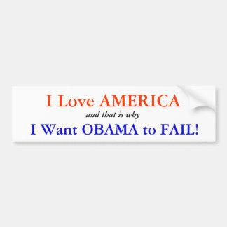 Ik houd van Amerika: Ik wil Obama ontbreken Bumpersticker