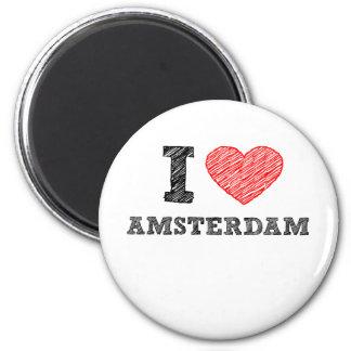 Ik houd van Amsterdam Ronde Magneet 5,7 Cm