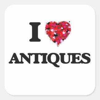 Ik houd van Antiquiteiten Vierkante Sticker
