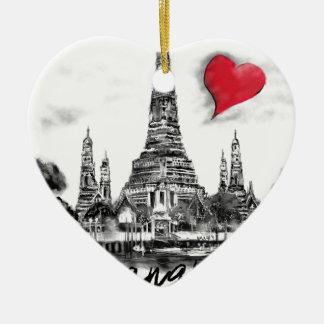 Ik houd van Bangkok Keramisch Hart Ornament