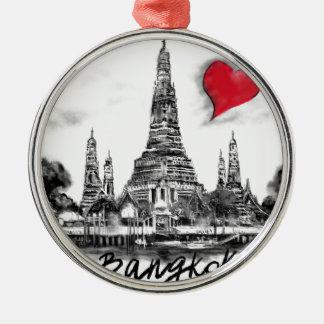 Ik houd van Bangkok Zilverkleurig Rond Ornament
