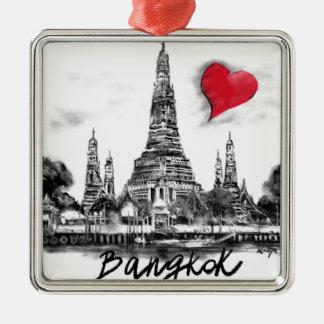 Ik houd van Bangkok Zilverkleurig Vierkant Ornament