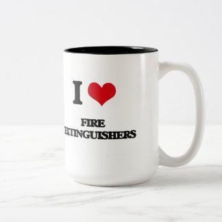 ik HOUD van brandblusapparaten Tweekleurige Koffiemok