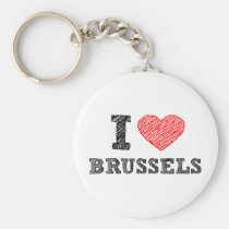 Ik houd van Brussel Basic Ronde Button Sleutelhanger