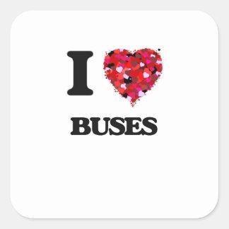 Ik houd van Bussen Vierkante Stickers