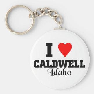 Ik houd van Caldwell, Idaho Basic Ronde Button Sleutelhanger