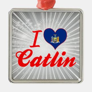 Ik houd van Catlin, New York Zilverkleurig Vierkant Ornament
