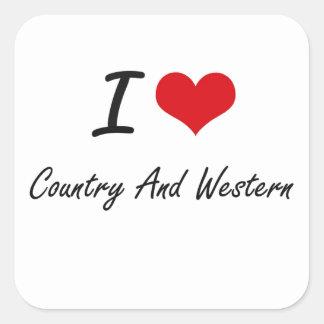 Ik houd van Country muziek Vierkante Sticker