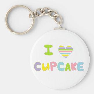 Ik houd van Cupcake Basic Ronde Button Sleutelhanger