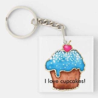 Ik houd van cupcakes 1-Zijde vierkante acryl sleutelhanger