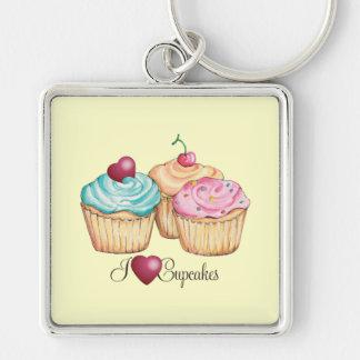Ik houd van Cupcakes Zilverkleurige Vierkante Sleutelhanger