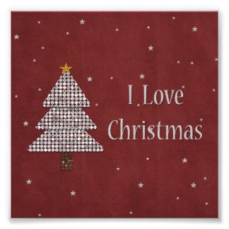 Ik houd van de Kerstboom van de Diamant van Fotoafdruk