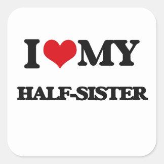 Ik houd van de mijn Helft - zuster Vierkant Stickers