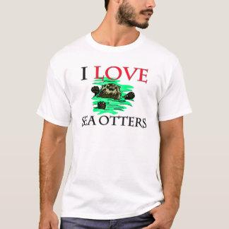 Ik houd van de Otters van het Zee T Shirt