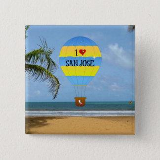 Ik houd van de Scène van het Strand van de Ballon Vierkante Button 5,1 Cm