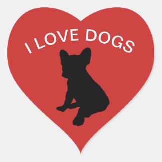 Ik houd van de Sticker van Honden