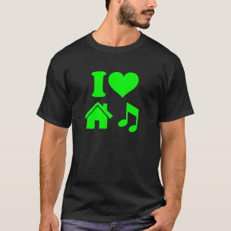 Ik houd van de T-shirt van de Muziek van het Huis