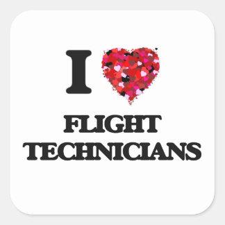 Ik houd van de Technici van de Vlucht Vierkant Sticker