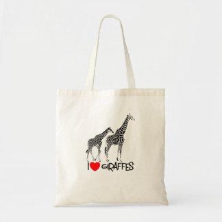 Ik houd van de zak van het giraffenbolsa draagtas
