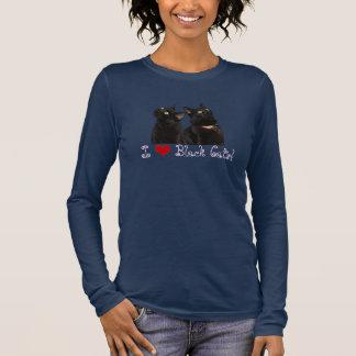 Ik houd van de Zwarte T-shirt van het Sleeve van