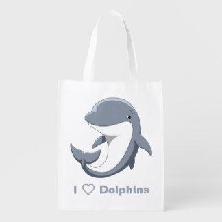 Ik houd van Dolfijnen Leuke Bottlenose Herbruikbare Boodschappentas