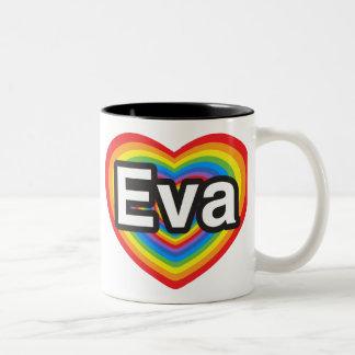 Ik houd van Eva. Ik houd van u Eva. Hart Tweekleurige Koffiemok