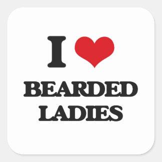Ik houd van Gebaarde Dames Vierkante Sticker