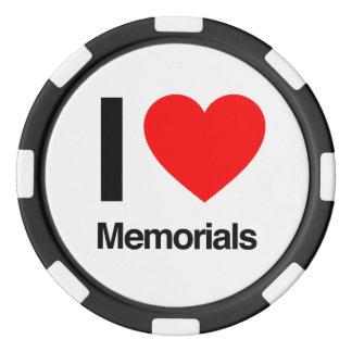ik houd van gedenktekens pokerchips