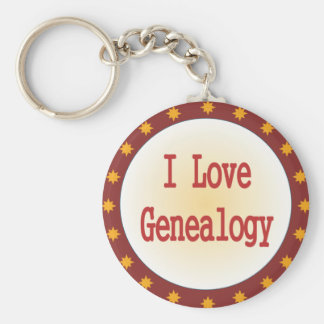 Ik houd van Genealogie Basic Ronde Button Sleutelhanger