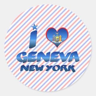 Ik houd van Genève, New York Ronde Sticker